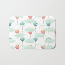 Modern coral teal watercolor clouds balloons pattern Bath Mat