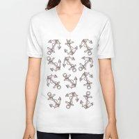 anchors V-neck T-shirts featuring Anchors by Jumanaah Hiasat
