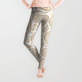 Paisley (Tan & White Pattern) Leggings