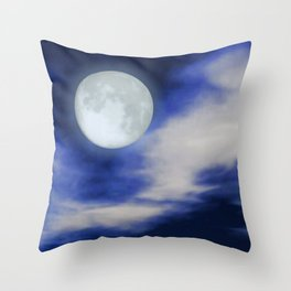 Moonscape With Moonlit Clouds Throw Pillow