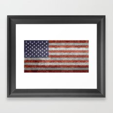 Flag of the United States of America in Retro Grunge Framed Art Print
