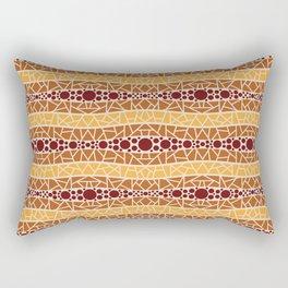 Mosaic Wavy Stripes in Burgundy, Terracotta, Apricot and Cream Rectangular Pillow