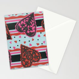 Floral Heart Papercut Stripe by  Nettwok2Design - Nettie Heron-Middleton Stationery Cards