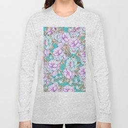 Modern aqua lavender teal watercolor hand painted floral Long Sleeve T-shirt