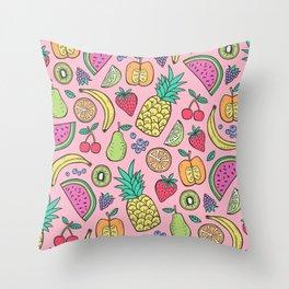 fruit on pink Throw Pillow