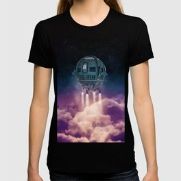 Out of the atmosphere / 3D render of spaceship rising above clouds T-shirt