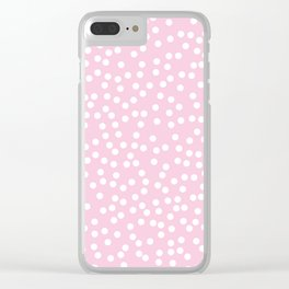 Baby Pink and White Polka Dot Pattern Clear iPhone Case