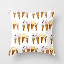 Ice Creams, Watercolor Ice Creams Throw Pillow