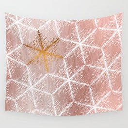 Elegant Geometric Gold Snowflakes Holiday Pattern Wall Tapestry