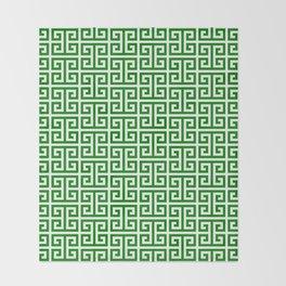 Green and White Greek Key Pattern Throw Blanket