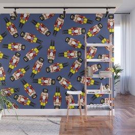 Small Nutcracker pattern Design - blue Wall Mural