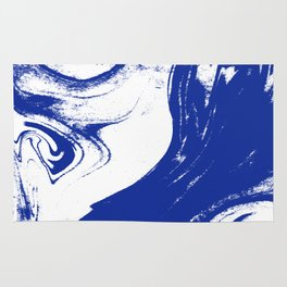 Marble blue 1 Suminagashi watercolor pattern art pisces water wave ocean minimal design Rug