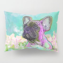 frenchie in the garden Pillow Sham