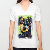 dachshund V-neck T-shirts featuring Dachshund by Gary Grayson
