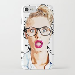 WOW Face Surprised Woman with Black Glasses and Open Mouth,  Pop-Art  iPhone Case