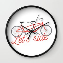 Let's Ride Tandem Bicycle - Red Wall Clock