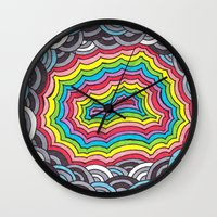 geode Wall Clocks featuring Rainbow Geode by Audrey Pixel Designs