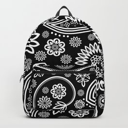 Oriental Persian Paisley, Dots - Black White Backpack