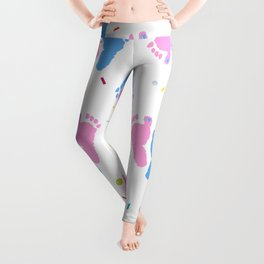 Pink and Blue Colored Baby Foot Prints With Confetti and Balloons Pattern Leggings