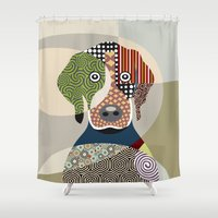 beagle Shower Curtains featuring Beagle by Lanre Studio