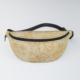 golden vintage damask floral pattern Fanny Pack