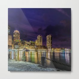 Boston Harbor with Christmas lights. Metal Print
