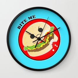 Bite Me Kawaii Cheeseburger Wall Clock