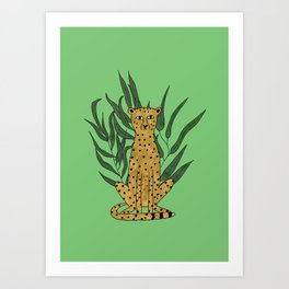 Cheetah with leaves Art Print