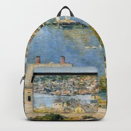 Classical Masterpiece 'Gloucester Harbor Landscape' by Frederick Childe Hassam Backpack