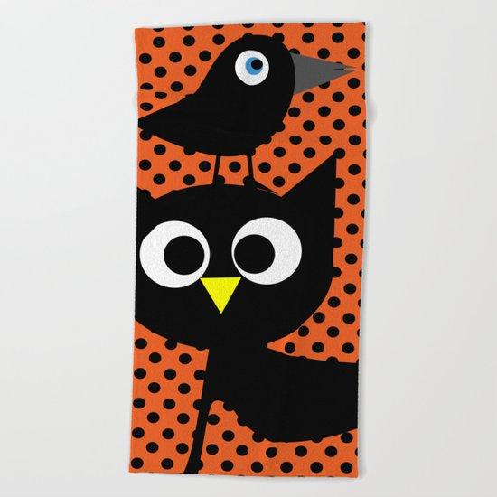 Black cat and raven Beach Towel