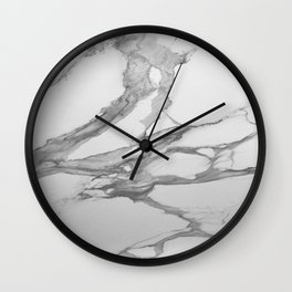 White Marble With Silver-Grey Veins Wall Clock