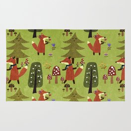 Happy foxes in the forest - Cute Fox Pattern Rug