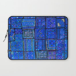 V2 Calm Blue Traditional Moroccan Cloth Texture. Laptop Sleeve