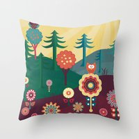 sunshine Throw Pillows featuring Sunshine by Kakel