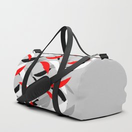 black white red grey abstract minimal pattern Duffle Bag