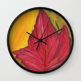 Luminous Red Maple Leaf Wall Clock