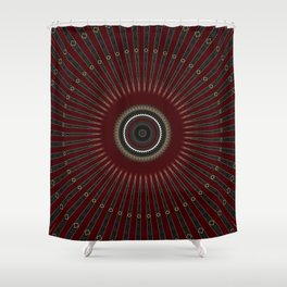 Red Velvet Gold Mandala Shower Curtain
