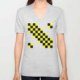 Black and yellow squares Unisex V-Neck