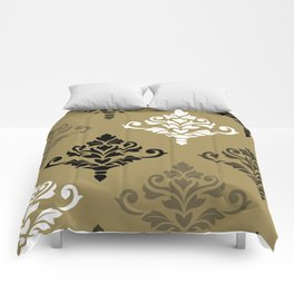 Cresta Damask Art I Black White Bronzes Gold Comforters
