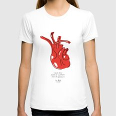 Frida Heart Womens Fitted Tee SMALL White
