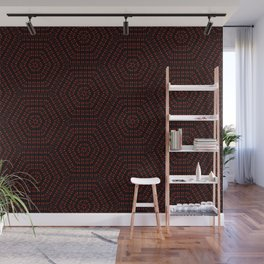 Red Spot Hexagon Pattern Wall Mural