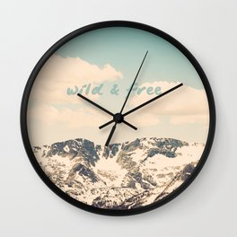 Wild and Free Faded Colorado Mountains Landscape, Clouds, blue skies, rockies Wall Clock