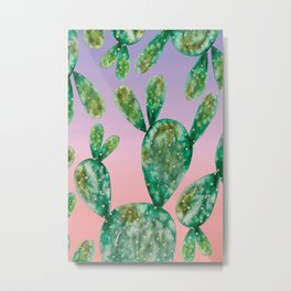 Gold Cactus | Pink and Purple Background Metal Print