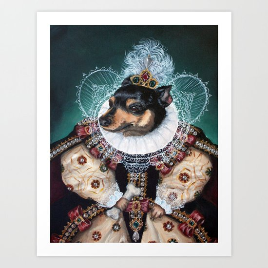Sophia the Miniature Pinscher as Queen Elizabeth Art Print