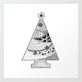 Doodle Christmas Tree Art Print