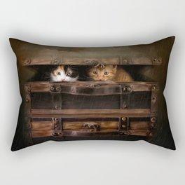 Little cute kitten in an old wooden case Rectangular Pillow