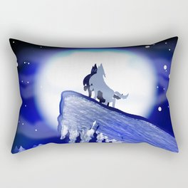 wolf howl Rectangular Pillow