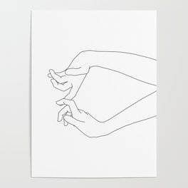 Hands line drawing - Robin Poster