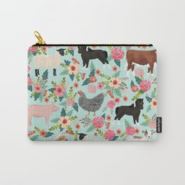 Farm animal sanctuary pig chicken cows horses sheep floral pattern gifts Carry-All Pouch