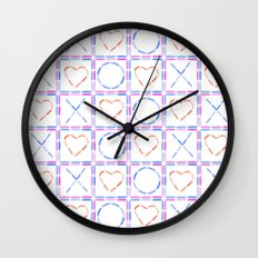 Hearts XOX Wall Clock